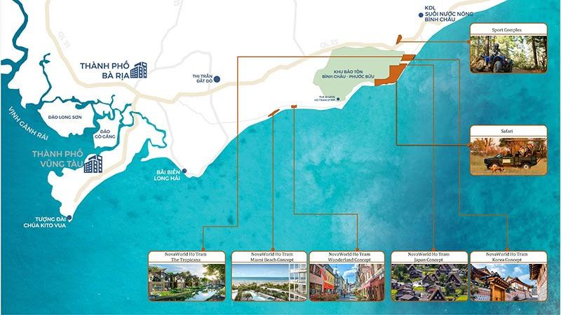 NOVAWORLD Hồ Tràm Tre Tropicana Vị trí dự án